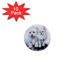 Cat Dog Cute Art Abstract 1  Mini Magnet (10 Pack)  by Celenk