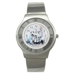Cat Dog Cute Art Abstract Stainless Steel Watch
