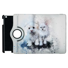 Cat Dog Cute Art Abstract Apple Ipad 3/4 Flip 360 Case by Celenk