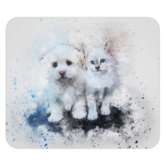 Cat Dog Cute Art Abstract Double Sided Flano Blanket (small)  by Celenk
