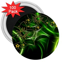Flora Entwine Fractals Flowers 3  Magnets (100 Pack) by Celenk