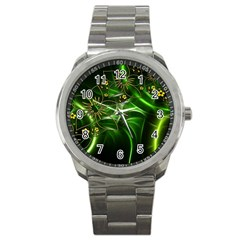 Flora Entwine Fractals Flowers Sport Metal Watch by Celenk