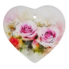 Flower Roses Art Abstract Ornament (heart) by Celenk