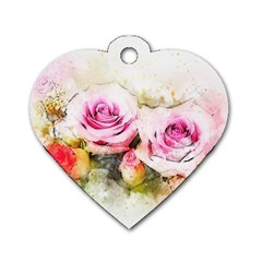 Flower Roses Art Abstract Dog Tag Heart (one Side) by Celenk