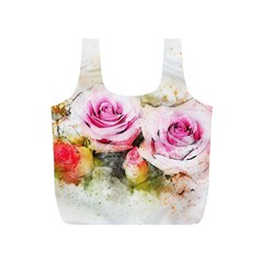 Flower Roses Art Abstract Full Print Recycle Bags (s)  by Celenk