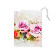 Flower Roses Art Abstract Drawstring Pouches (medium)  by Celenk