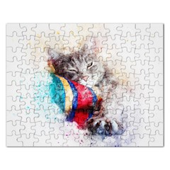 Cat Kitty Animal Art Abstract Rectangular Jigsaw Puzzl by Celenk