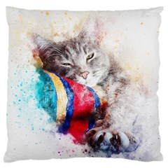 Cat Kitty Animal Art Abstract Large Cushion Case (two Sides) by Celenk
