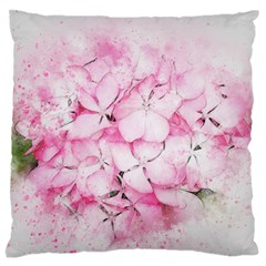 Flower Pink Art Abstract Nature Large Flano Cushion Case (two Sides) by Celenk