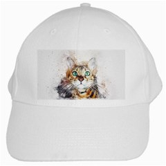 Cat Animal Art Abstract Watercolor White Cap by Celenk