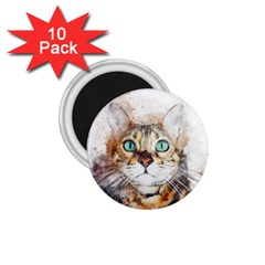 Cat Animal Art Abstract Watercolor 1 75  Magnets (10 Pack)  by Celenk