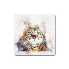 Cat Animal Art Abstract Watercolor Square Magnet by Celenk