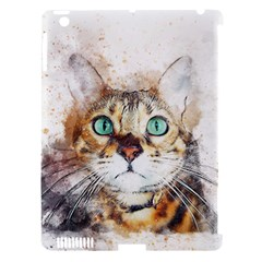 Cat Animal Art Abstract Watercolor Apple Ipad 3/4 Hardshell Case (compatible With Smart Cover) by Celenk