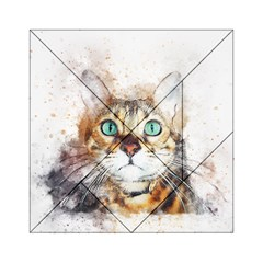 Cat Animal Art Abstract Watercolor Acrylic Tangram Puzzle (6  X 6 ) by Celenk