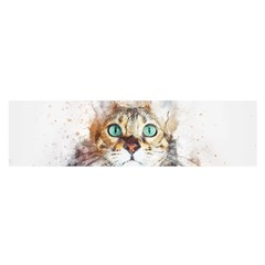 Cat Animal Art Abstract Watercolor Satin Scarf (oblong) by Celenk