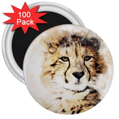Leopard Animal Art Abstract 3  Magnets (100 Pack) by Celenk