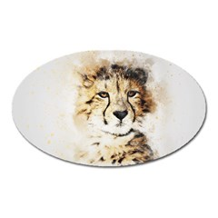 Leopard Animal Art Abstract Oval Magnet by Celenk