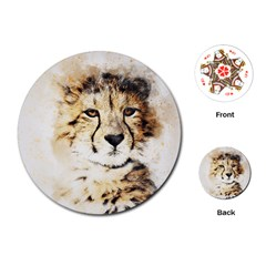 Leopard Animal Art Abstract Playing Cards (round)  by Celenk