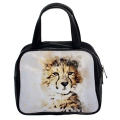 Leopard Animal Art Abstract Classic Handbags (2 Sides) by Celenk