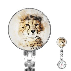 Leopard Animal Art Abstract Stainless Steel Nurses Watch by Celenk