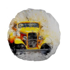 Car Old Art Abstract Standard 15  Premium Flano Round Cushions by Celenk