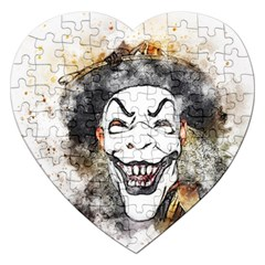 Mask Party Art Abstract Watercolor Jigsaw Puzzle (heart) by Celenk