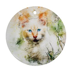 Cat Animal Art Abstract Watercolor Ornament (round) by Celenk