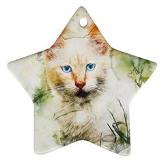 Cat Animal Art Abstract Watercolor Ornament (star) by Celenk