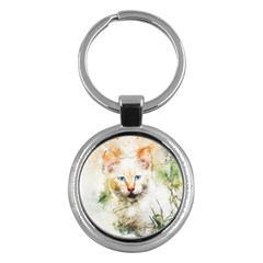 Cat Animal Art Abstract Watercolor Key Chains (round)  by Celenk