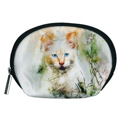 Cat Animal Art Abstract Watercolor Accessory Pouches (medium)  by Celenk
