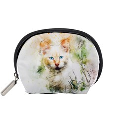 Cat Animal Art Abstract Watercolor Accessory Pouches (small)  by Celenk
