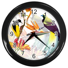 Exotic Birds Of Paradise And Flowers Watercolor Wall Clocks (black) by TKKdesignsCo