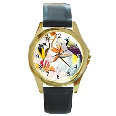 Exotic Birds Of Paradise And Flowers Watercolor Round Gold Metal Watch by TKKdesignsCo