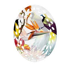 Exotic Birds Of Paradise And Flowers Watercolor Ornament (oval Filigree) by TKKdesignsCo