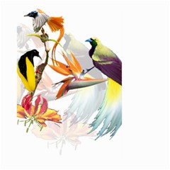Exotic Birds Of Paradise And Flowers Watercolor Large Garden Flag (two Sides) by TKKdesignsCo