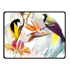Exotic Birds Of Paradise And Flowers Watercolor Double Sided Fleece Blanket (small)  by TKKdesignsCo