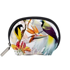 Exotic Birds Of Paradise And Flowers Watercolor Accessory Pouches (small)  by TKKdesignsCo