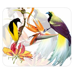 Exotic Birds Of Paradise And Flowers Watercolor Double Sided Flano Blanket (small)  by TKKdesignsCo