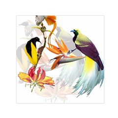 Exotic Birds Of Paradise And Flowers Watercolor Small Satin Scarf (square) by TKKdesignsCo