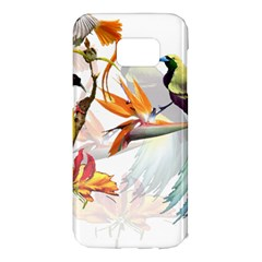 Exotic Birds Of Paradise And Flowers Watercolor Samsung Galaxy S7 Edge Hardshell Case by TKKdesignsCo