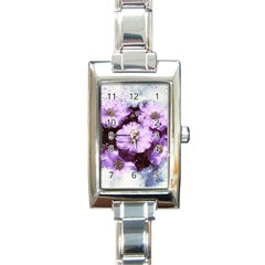 Flowers Purple Nature Art Abstract Rectangle Italian Charm Watch by Celenk