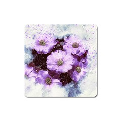 Flowers Purple Nature Art Abstract Square Magnet by Celenk