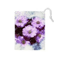 Flowers Purple Nature Art Abstract Drawstring Pouches (medium)  by Celenk