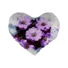 Flowers Purple Nature Art Abstract Standard 16  Premium Flano Heart Shape Cushions by Celenk