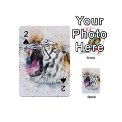 Tiger Roar Animal Art Abstract Playing Cards 54 (mini)  by Celenk