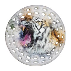 Tiger Roar Animal Art Abstract Ornament (round Filigree) by Celenk