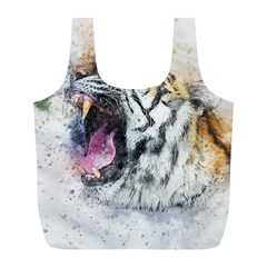 Tiger Roar Animal Art Abstract Full Print Recycle Bags (l)  by Celenk