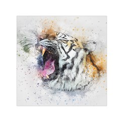 Tiger Roar Animal Art Abstract Small Satin Scarf (square) by Celenk