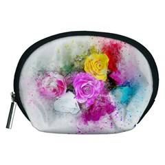 Flowers Bouquet Art Abstract Accessory Pouches (medium)  by Celenk