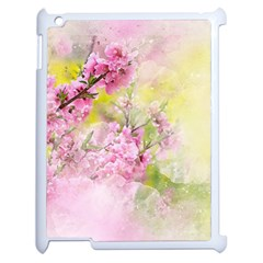 Flowers Pink Art Abstract Nature Apple Ipad 2 Case (white) by Celenk